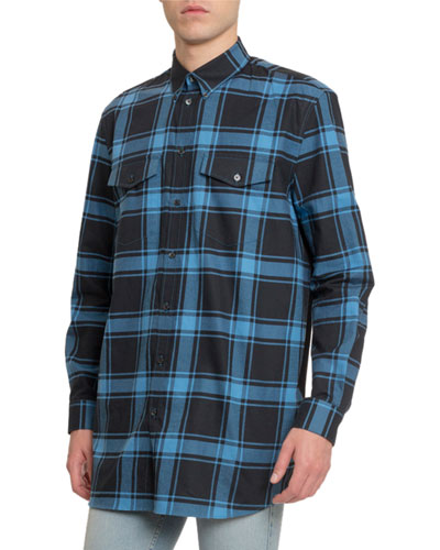 Men's Plaid Classic Sport Shirt w/ Tape Back