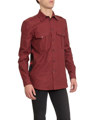 Men's Check Military Sport Shirt