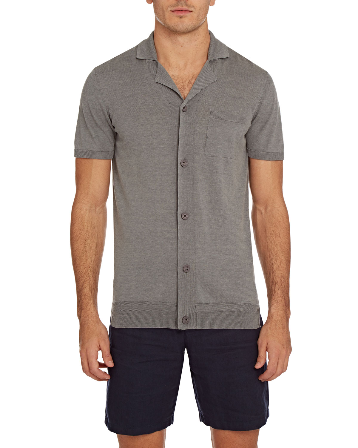 Orlebar Brown T-shirts MEN'S COLMAN COTTON/SILK BUTTON-DOWN SHIRT