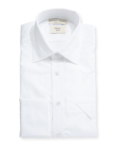 Men's Poplin Egyptian Cotton Dress Shirt w/ Pocket Fold