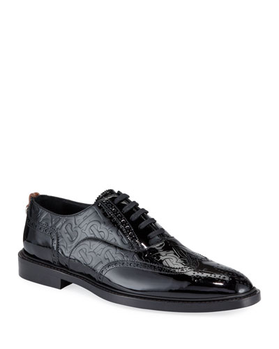 Men's Lennard TB-Embossed Leather Oxford Shoes