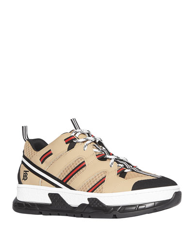 Men's RS5 Icon Stripe Mesh & Leather Sneakers