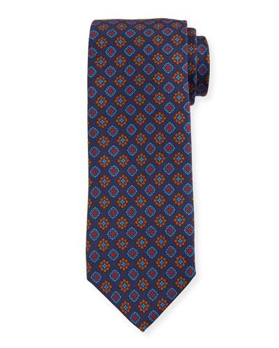 Men's Vintage Floral Silk Tie, Blue
