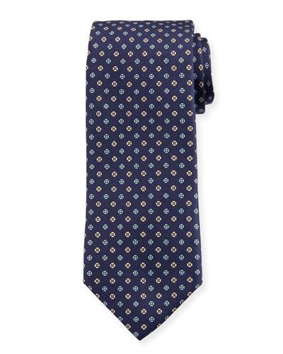 Men's Small Floral Silk Tie, Dark Blue