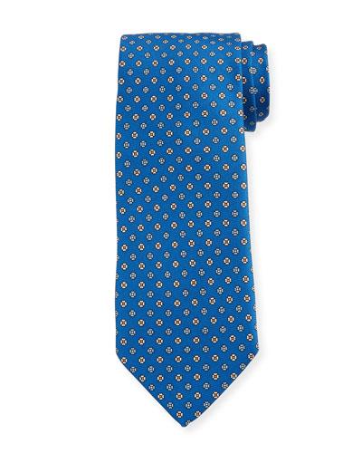 Men's Small Floral Silk Tie, Bright Blue