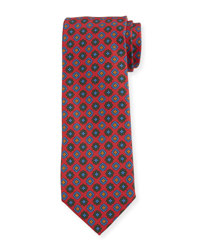 Men's Vintage Floral Silk Tie, Red