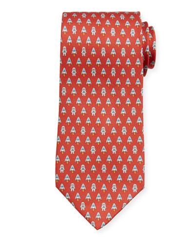 Men's Isea Space Silk Tie, Red