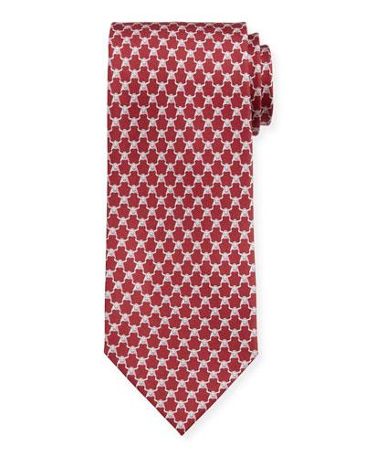 Men's Indro Silk Bull-Print Tie, Red