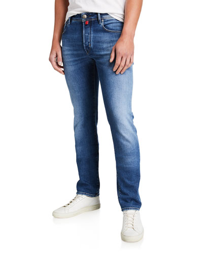 Men's Light-Wash Straight-Leg Jeans