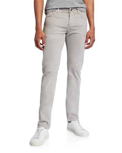 Men's Brushed Denim 5-Pocket Jeans , Light Gray