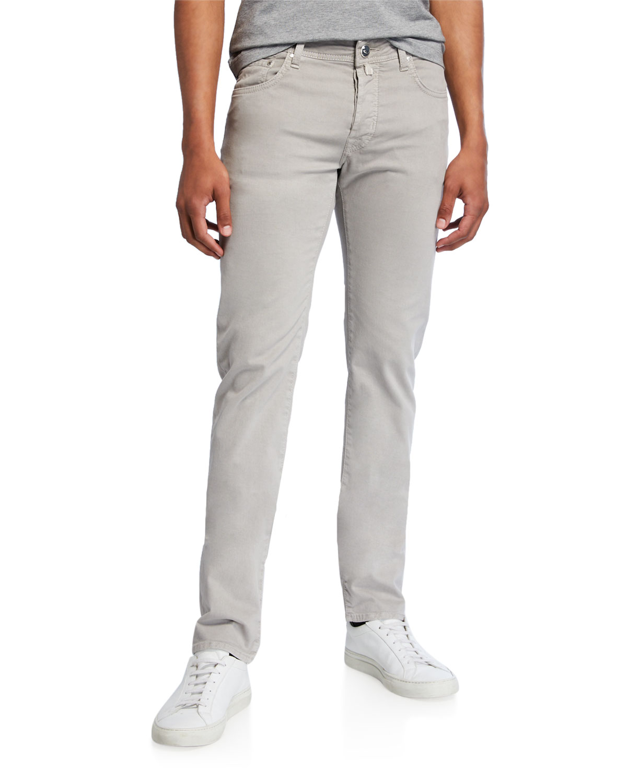 Jacob Cohen Jeans MEN'S BRUSHED DENIM 5-POCKET JEANS, LIGHT GRAY