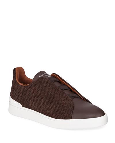 Men's Tripe-Stitch Pelle Tessuta Woven Nubuck Sneakers