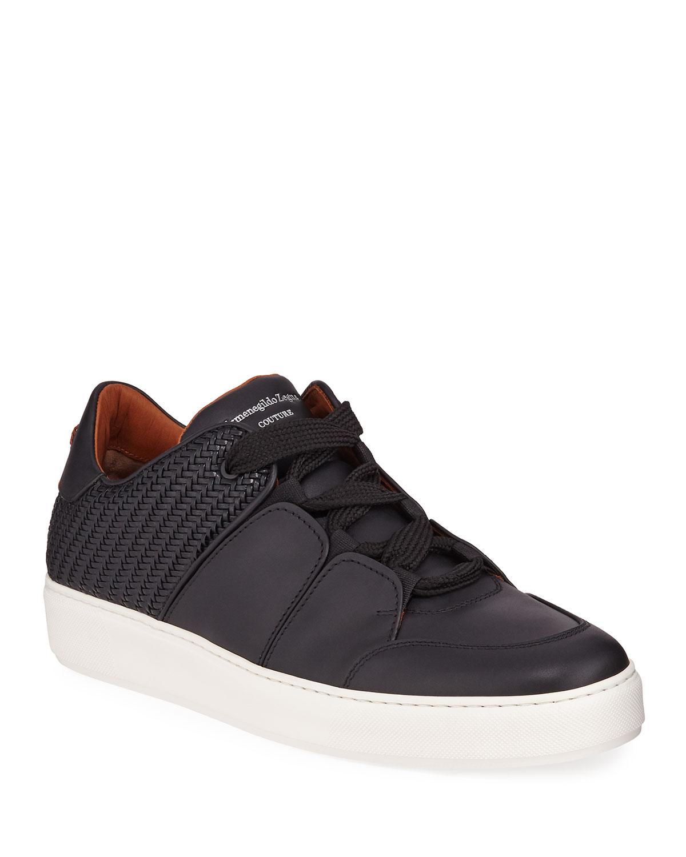 Ermenegildo Zegna Sneakers MEN'S TIZIANO PELLE TESSUTA WOVEN LEATHER LOW-TOP SNEAKERS