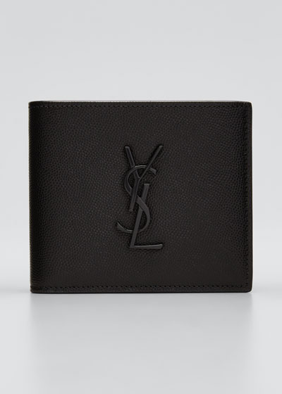 Men's YSL Monogram Leather Wallet