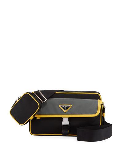 Men's Tessuto Saffiano Crossbody Bag
