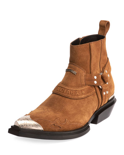 Men's Santiago Western Harness Suede Booties