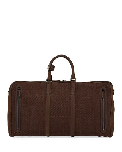 Men's Large Pelle Tessuta Leather Duffel Bag