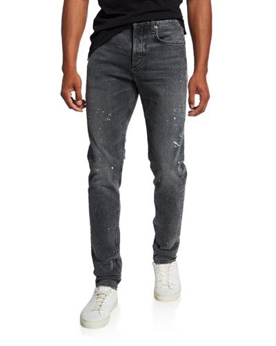 Men's Standard Issue Fit 1 Slim-Skinny Jeans with Splatter
