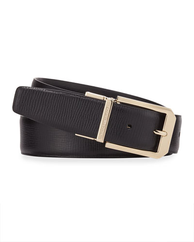 Men's Reversible 35mm Square-Buckle Leather Belt