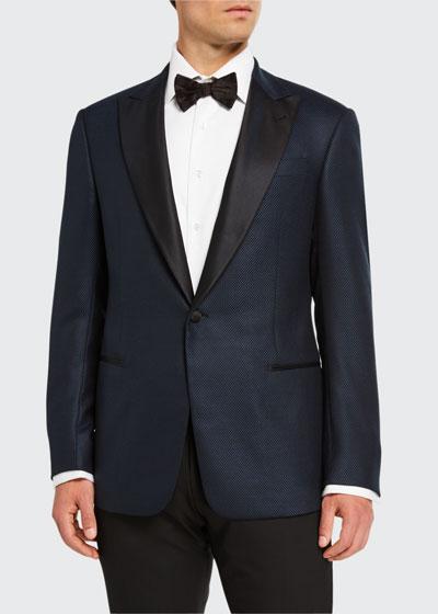 Men's Micro-Weave Dinner Jacket w/ Satin Lapel, Navy