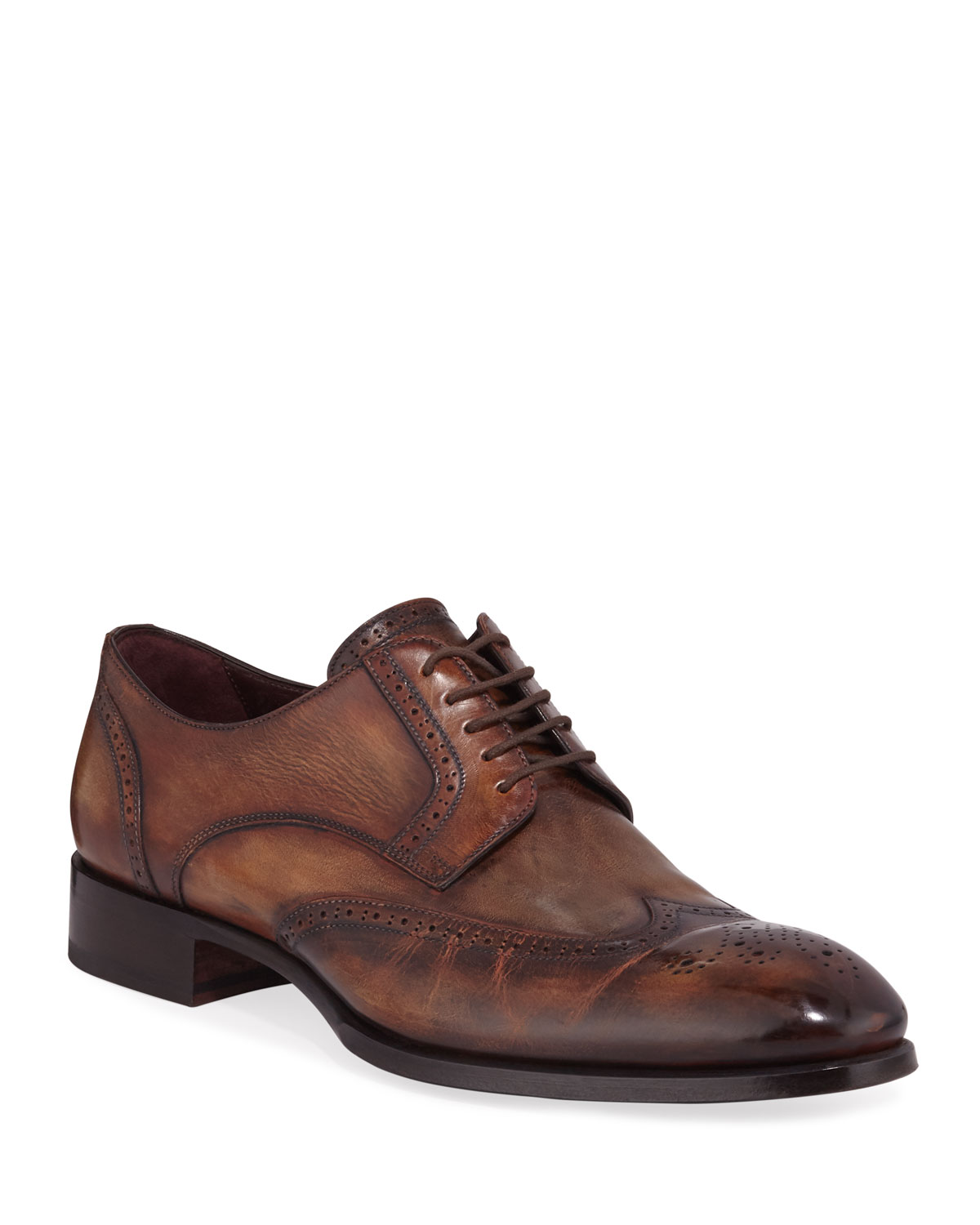 Brioni Shoes MEN'S WING-TIP LEATHER DERBY SHOES