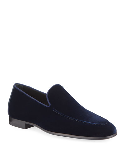 Men's Velvet Moc-Toe Loafers