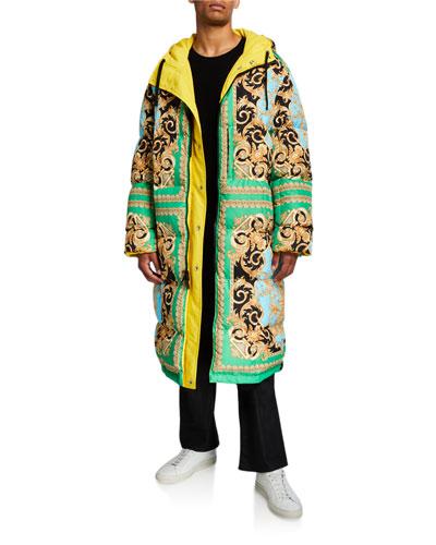 Men's Reversible Puffer Trench Coat