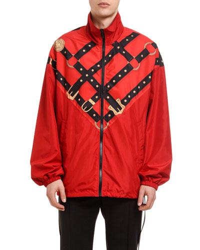 Men's Harness-Graphic Wind-Resistant Jacket
