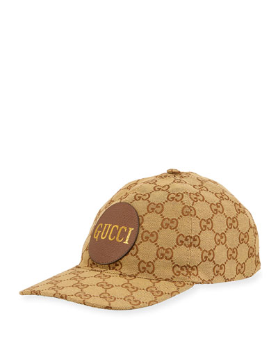 Men's GG Canvas Baseball Hat with Leather Logo Patch