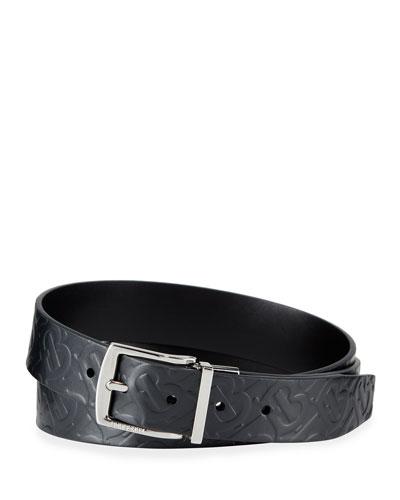 Men's Clarke Logo-Embossed/Smooth Leather Reversible Belt