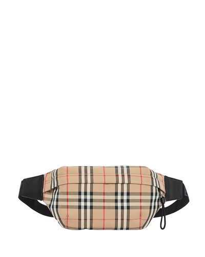Men's Vintage Check Nylon Belt Bag/Fanny Pack