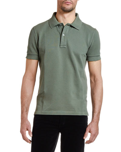 Men's Pique-Knit Polo Shirt, Green
