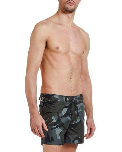 Men's Camo-Pattern Swim Trunks