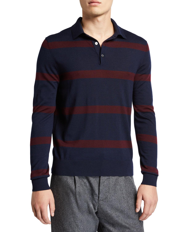 Ralph Lauren T-shirts MEN'S STRIPED WOOL POLO SHIRT