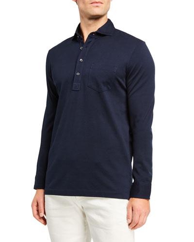 Men's Washed Long-Sleeve Pocket Polo Shirt, Navy