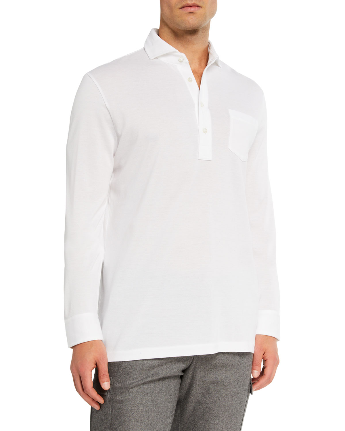 Ralph Lauren T-shirts MEN'S WASHED LONG-SLEEVE POCKET POLO SHIRT, WHITE