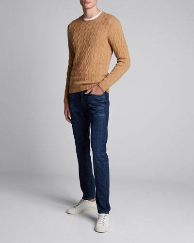 Men's Cashmere Cable-Knit Crewneck Sweater, Beige