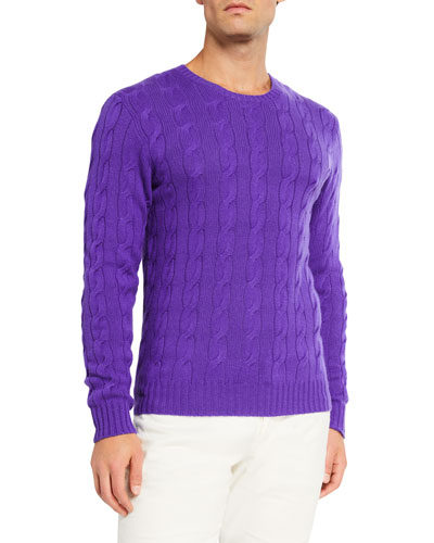 Men's Cashmere Cable-Knit Crewneck Sweater, Purple
