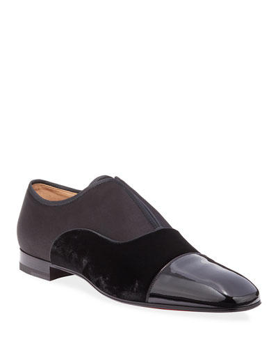 Men's Alpha Male Tonal Patent Leather & Suede Slip-On Shoes