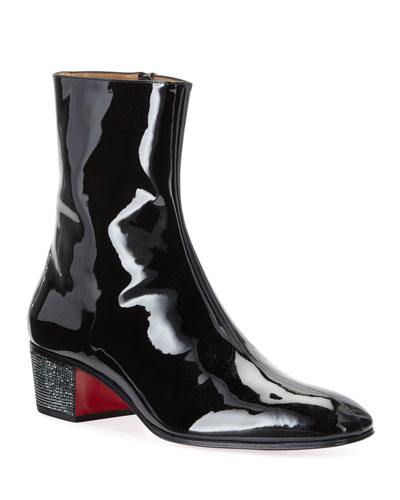 Men's Palace Crystal Patent Red Sole Boots