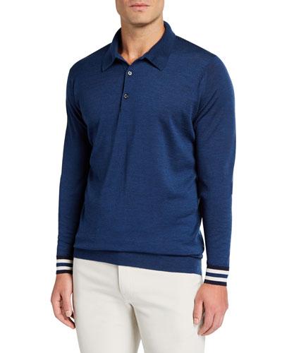 Men's Striped-Cuffs Long-Sleeve Polo Shirt
