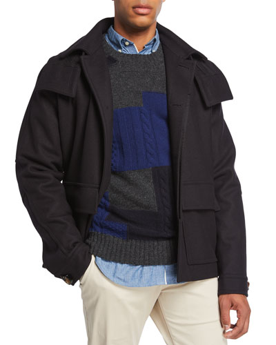 Men's Melton Wool Hooded Utility Jacket