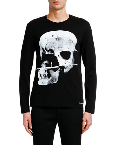 Men's X-Ray Skull Graphic Long-Sleeve Cotton T-Shirt