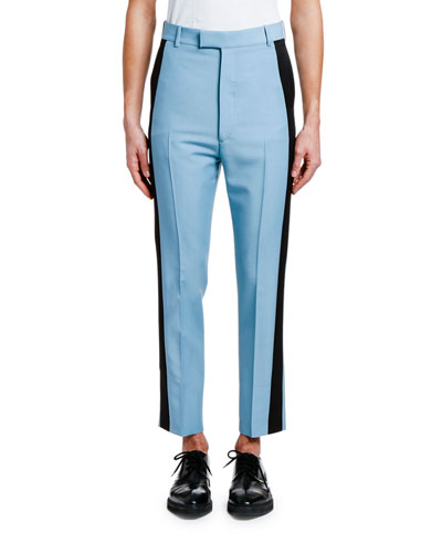 Men's Cropped Trousers with Tuxedo Stripes