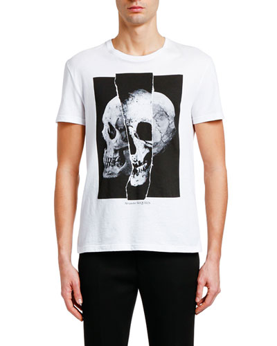 Men's Spliced Skull Graphic Cotton T-Shirt