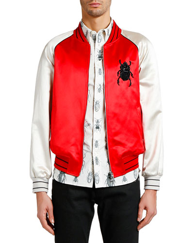 Men's Bug-Embroidered Satin Souvenir Jacket