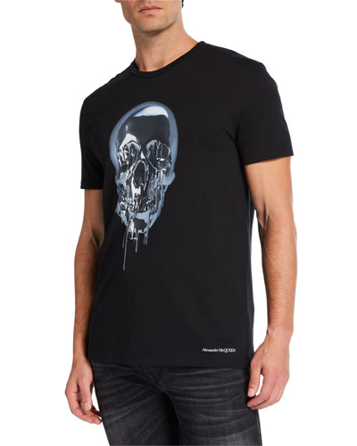 Men's Melting Metal Skull Graphic Short-Sleeve T-Shirt
