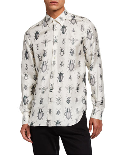 Men's Bug-Print Silk Sport Shirt