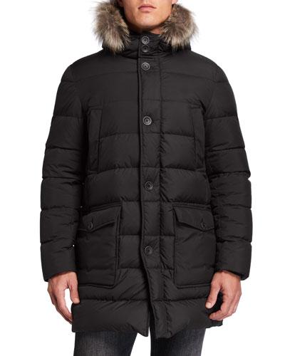 Men's Millionaire Parka Coat w/ Fur Trim