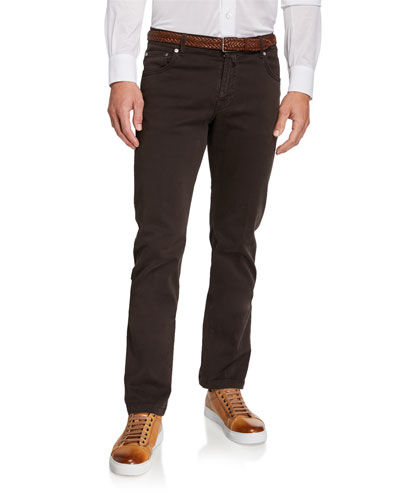 Men's Twill 5-Pocket Pants, Brown